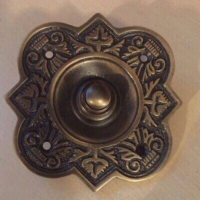 Large Fancy Antique Finish On Brass Bell Push
