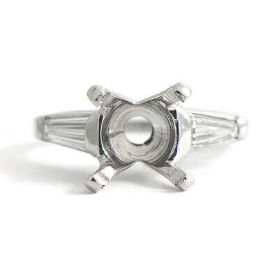 Tapered Baguette Diamond Engagement Ring Setting Mounting Platinum, 4.48 Grams Diamond Platinum Engagement Ring Mounting