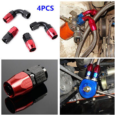 4 Pcs An6 0  90  Degree Swivel Oil Fuel Air Gas Line Hose End Fitting Red Black