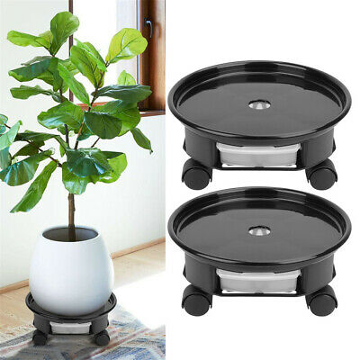 2X Plant Saucer Caddy Pot, Plant Dolly with Wheel Roller Moving Tray Pallet NEW