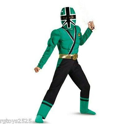 Power Rangers Samurai Green Muscle Costume size 7-8 M New Child Bonus Hard mask ()