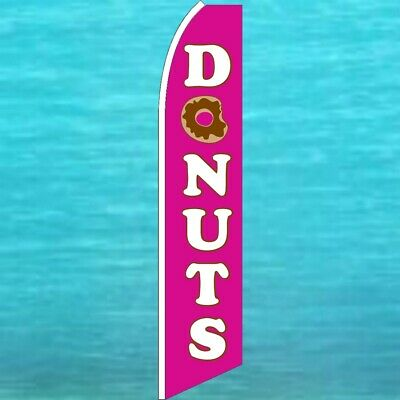 Donuts Flutter Flag Tall Curved Top Advertising Sign Feather Swooper Wind Banner
