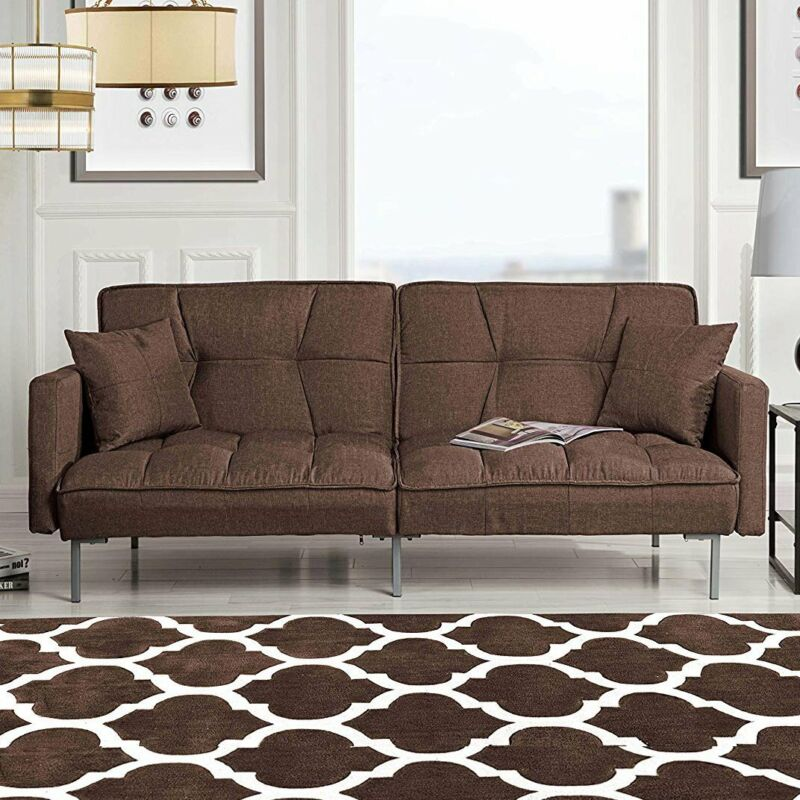 Modern Futon Sofa Bed Split Back Couch in Plush Tufted Linen Sleeper Sofa Brown