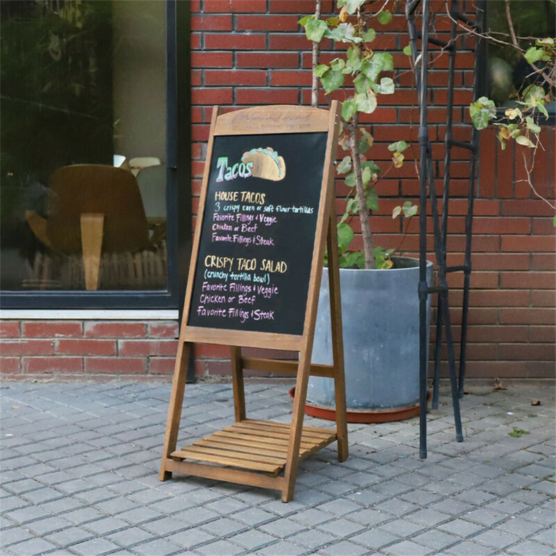 Chalkboard Sign Wooden Sidewalk Easel Chalk Sandwich Board Double Sided Message