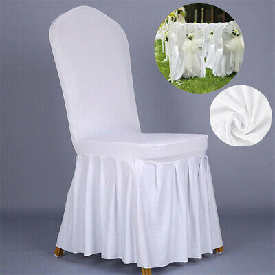 100PCS Wedding Chair Covers Seat Cover Ruffled Chair Slipcover Dining Party - Ruffled Chair Covers