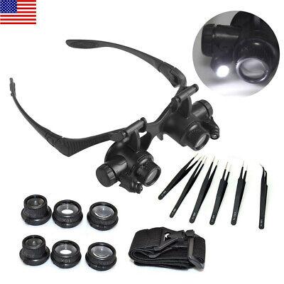 LED Magnifier Eye Loupe Glasses Watch Repair 25X Lens Non Magnetic ESD DIY (Diy Lens Repair)