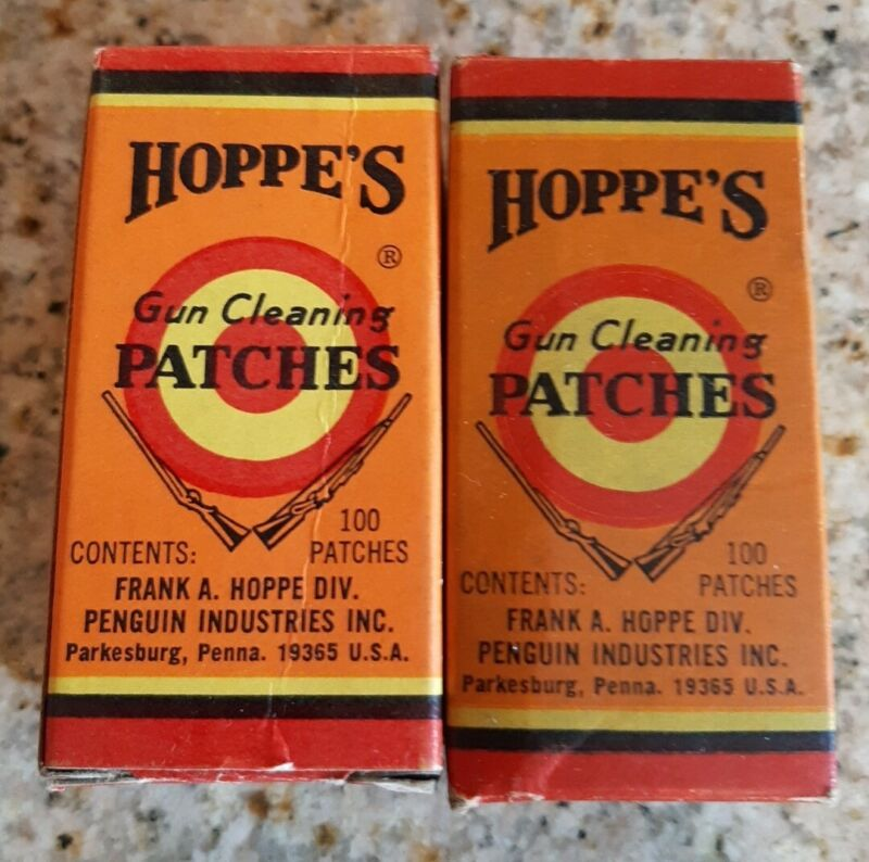 2X 1940s VINTAGE FULL BOX HOPPE'S No. 2 GUN CLEANING PATCHES .22-.270 CALIBER
