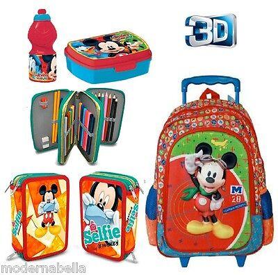 0a83be0f62 set zaino Trolley 3D Topolino Mickey Mouse Astuccio Triplo set colazione  scuola