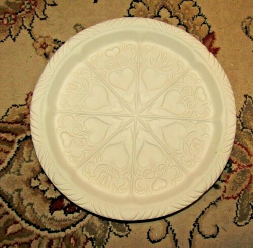 HARTSTONE POTTERY LARGE VTG WHITE SHORTBREAD COOKIE MOLD w/ hearts #1