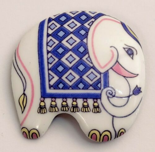 Signed Michaela Frey Rare Brooch Enamel Figural Elephant