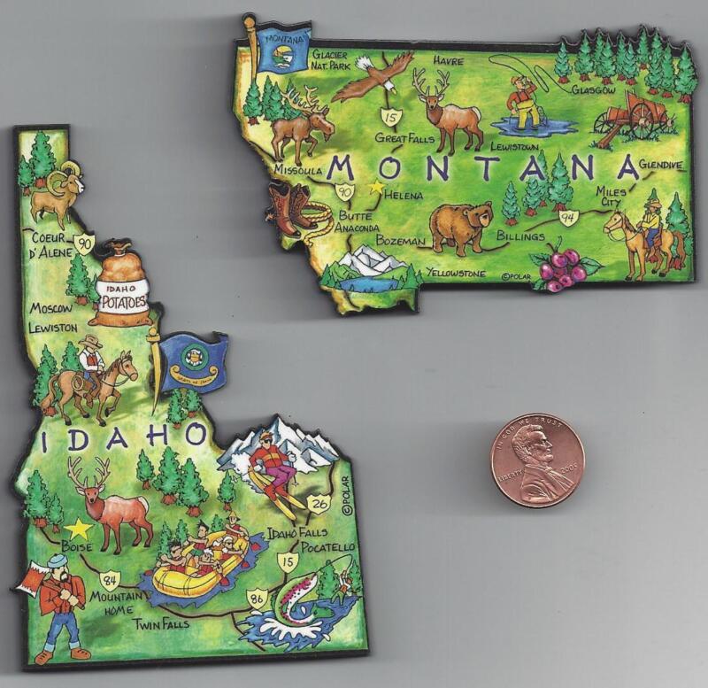 MONTANA  and  IDAHO    ARTWOOD JUMBO STATE MAP MAGNET SET - 2 NEW MAGNETS