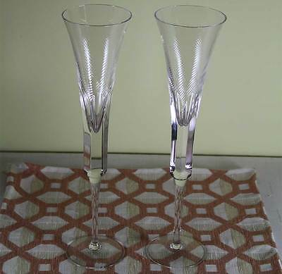 Wonderful Pair Tall Champagne Flutes, Boxed, Designed for Renwick & Clark