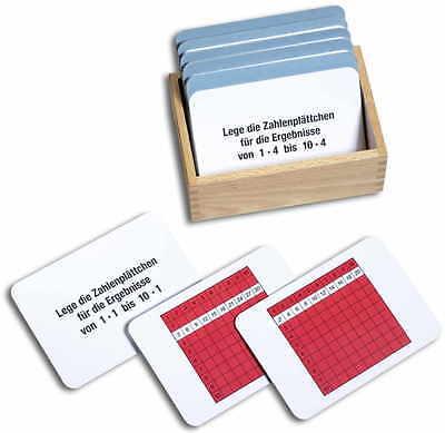 Arbeitskartei zum Pythagorasbrett 100 Karten, Montessori Material