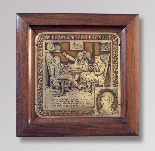 1903 GEORGE RUTLEDGE Brass Etching Wall Plaque w/Frame ~ Robert Burns Verse