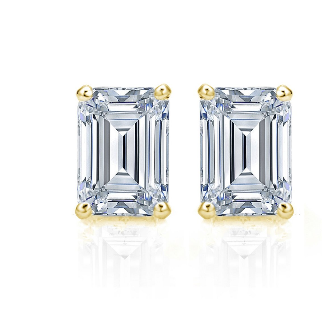 2.01 CTW Diamond Studs Earrings 14k Yellow Gold Screw Back Natural Emerald Cut