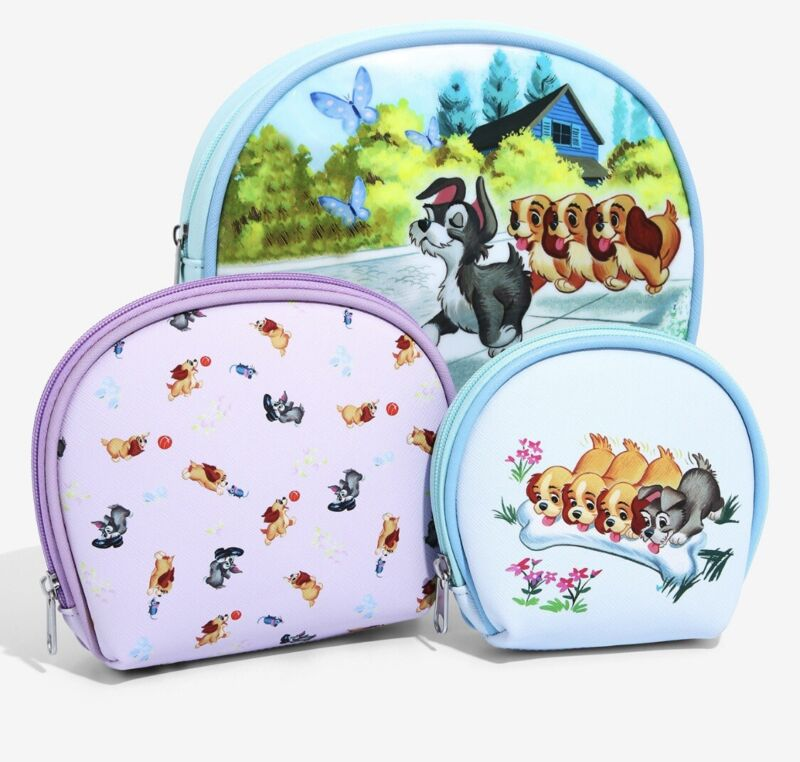 Disney Lady and the Tramp 3 Piece Cosmetic Bag Set NEW Never Been Touched!