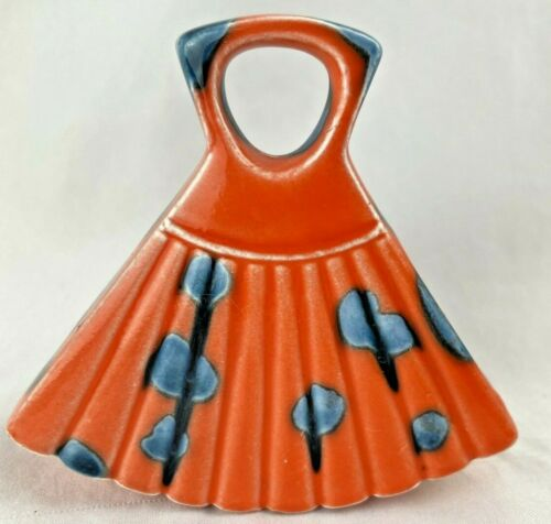 Vintage Fan Bud Vase EW Made in Japan Orange & Cobalt