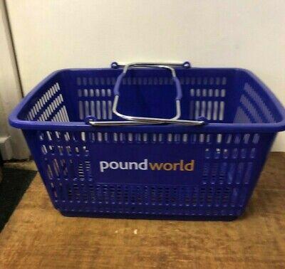 27l Blue Plastic Supermarket Shopping Basket W Metal Carry Handles 5 10 20