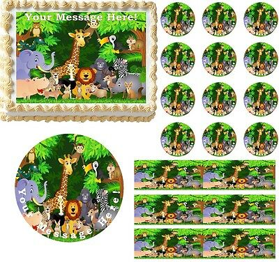 JUNGLE SAFARI ANIMALS Edible Cake Topper Image Frosting Sheet Baby Shower Idea - Safari Ideas