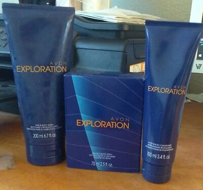Avon Exploration. 3pc Set. Spray, Aftershave Conditioner, Hair/Body Wash. NEW! for sale  Shipping to India