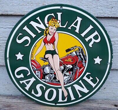 VINTAGE SINCLAIR MOTORCYCLE PIN UP GASOLINE PORCELAIN SIGN GAS PUMP PLATE INDIAN