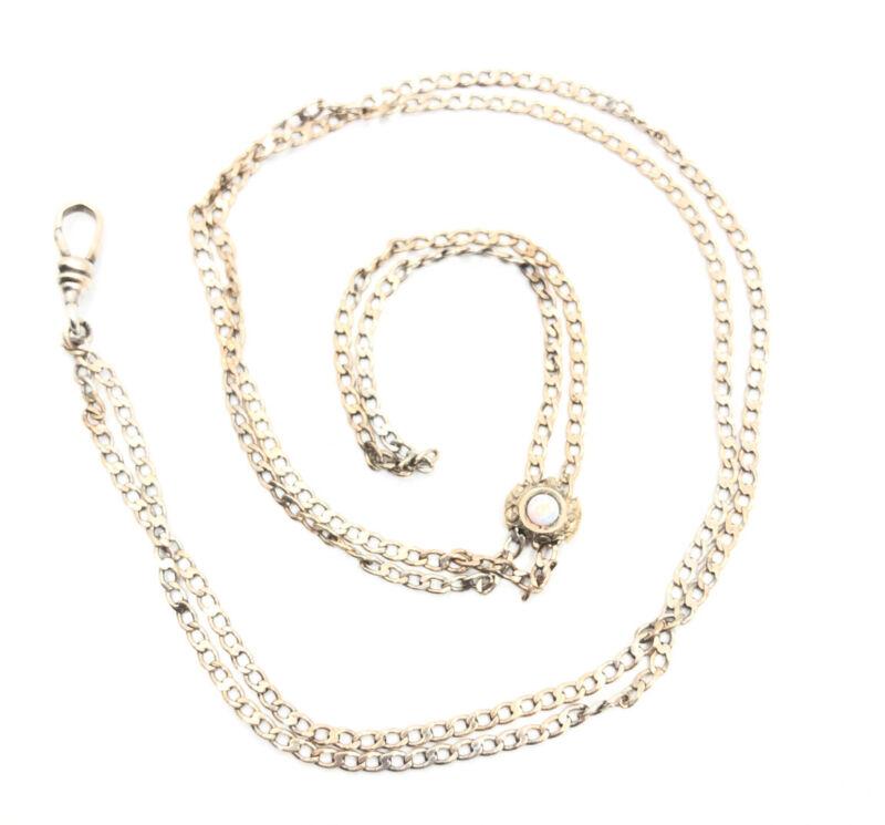 Vintage Victorian Art Deco Sterling Silver 925 Opal Slide Long Watch Chain