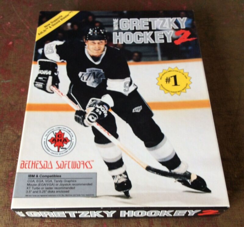 1990 Wayne Gretzky Hockey 2 Computer Game IBM/Tandy CIB B1