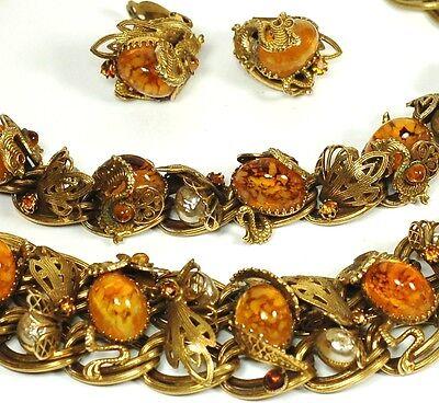 SCHIAPARELLI Art Deco Dragon Germany Glass Necklace Bracelet Earring Set Rare