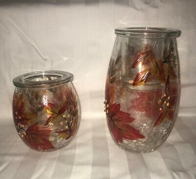 YANKEE CANDLE AUTUMN LEAVES TEA LIGHT HOLDER SET ~ BRAND NEW HOLDER HARD TO FIND