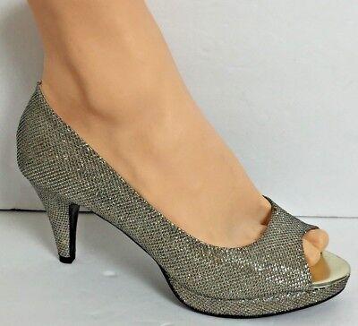 Bandolino Silver Womens Shoes Size 7.5 M  Open Toe Pump Bling Wedding Shoes  (Bling Wedding Shoes)