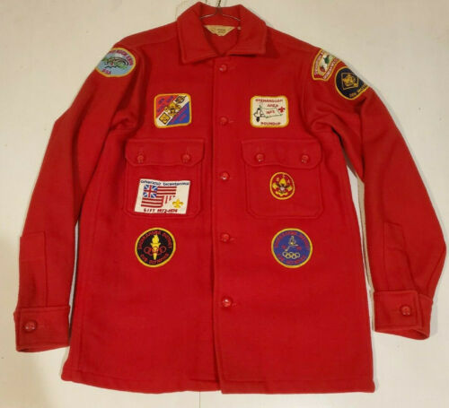 Vintage Official Boy Scouts Of America Red Wool Jacket Shirt Size 38 BSA