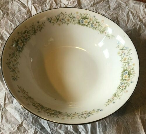 "Dream Time by Oxford 9-3/8"" Vegetable Bowl Pastel Floral Platinum Trim Japan 530"
