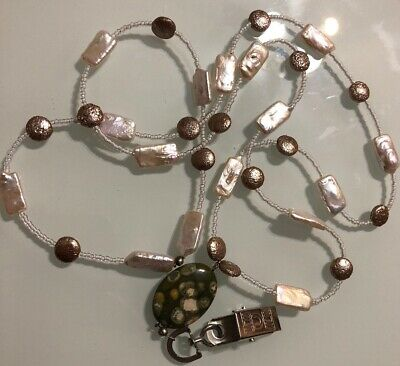 Used, Pearl Beaded ID Badge Holder Clip With Jasper Stone  for sale  Brooklyn