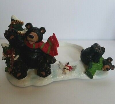 Classic Yankee Candle Christmas Bears Candle Light Holder 2012 Mom Cub Bird Tree