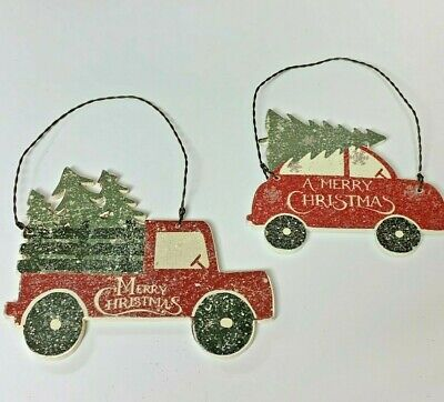 RED TRUCK AND CAR WITH TREE CHRISTMAS ORNAMENT
