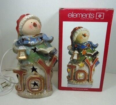 Elements Christmas Porcelain Snowman Night Light Plug In NIB Joy