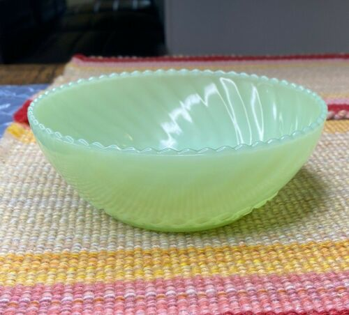 Fire King Jadeite Jadite Green Sawtooth Diamond Pattern Bon Bon Candy Bowl Dish