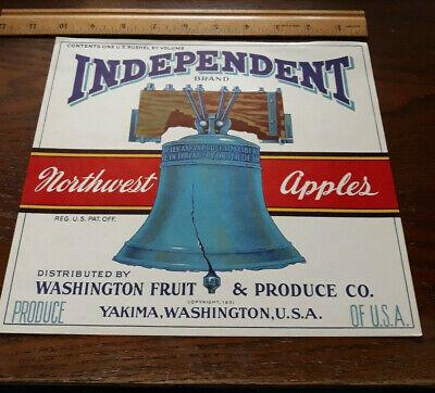 Vintage copyright 1931 INDEPENDENT APPLE Fruit Crate Label Yakima Washington NOS