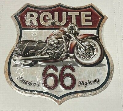 """America's Highway Route 66 12"""" SHIELD METAL SIGN ~ Motorcycle"""