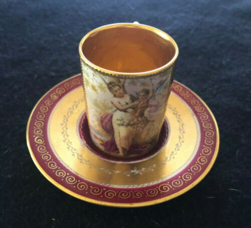 Antique Royal Vienna Hand Painted Artist Signed Cup and Saucer