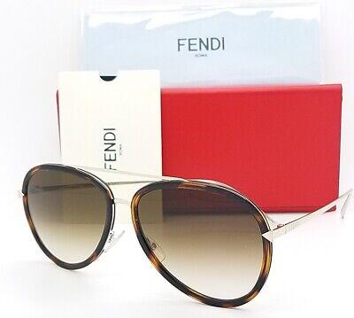 New Fendi sunglasses Aviator FF0155/S V4Z 57mm Havana Brown Gradient  AUTHENTIC (Havana Aviator Sunglasses)
