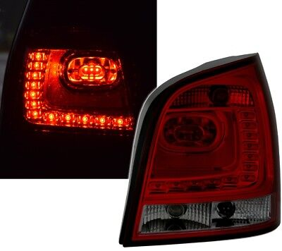 LED RÜCKLEUCHTEN SET 6R Style für VW POLO 9N3 in ROT SMOKE von EAGLE EYES