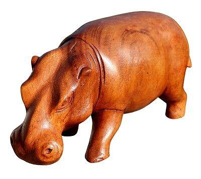 Schönes Holz Nilpferd Statue Deko Afrika Dekoration Handarbeit Bali Hippo 04