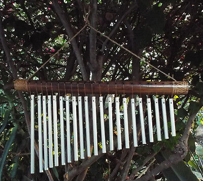 Brushed Chrome Bar (21 Bar Dream Chime, Brushed Chrome on Bamboo w/ Sound File wind chime )