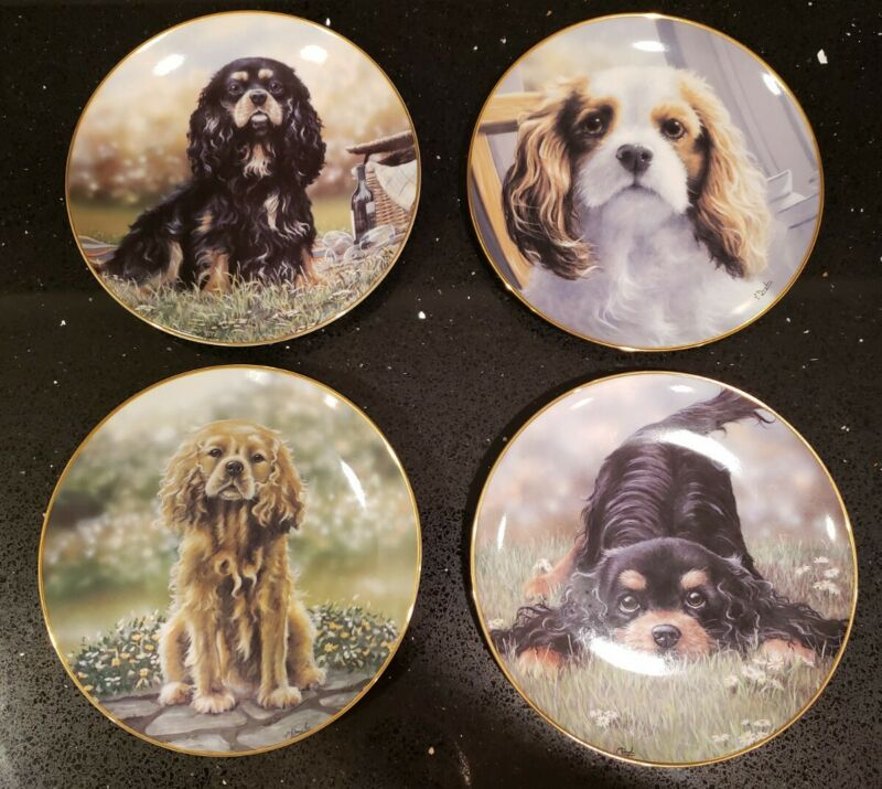 Cavalier King Charles Spaniel Dogs Danbury Mint Set of 4 Beautiful Plates