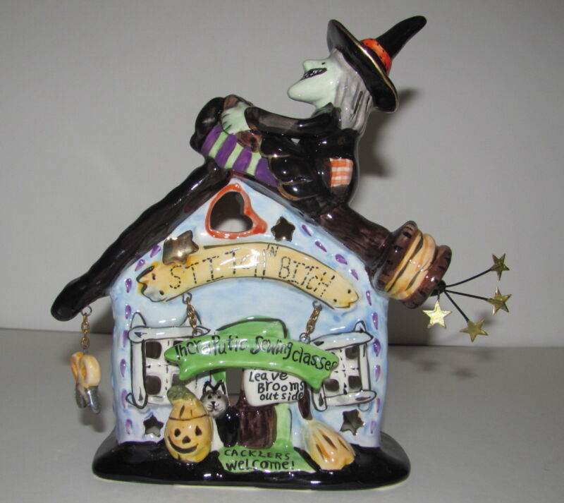 STITCH n BITCH Witch Candle House Blue Sky Heather Goldminc Halloween NIB
