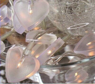 20er Deko-Lichterkette, weiße Herzen