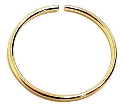 Echtes Massives 9 Karat Gelb 10 mm Dia Gold Kontinuierlich Nasen Ring Creole 22g (Nasen-ring Gold 22)