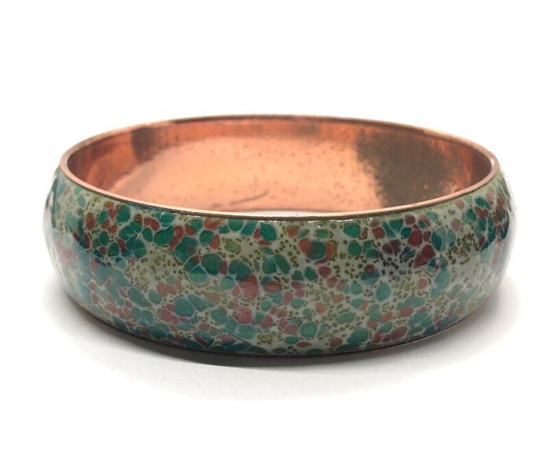 """Vintage Copper Bracelet Signed Matisse Renoir Copper Bangle 8"""" Wide"""