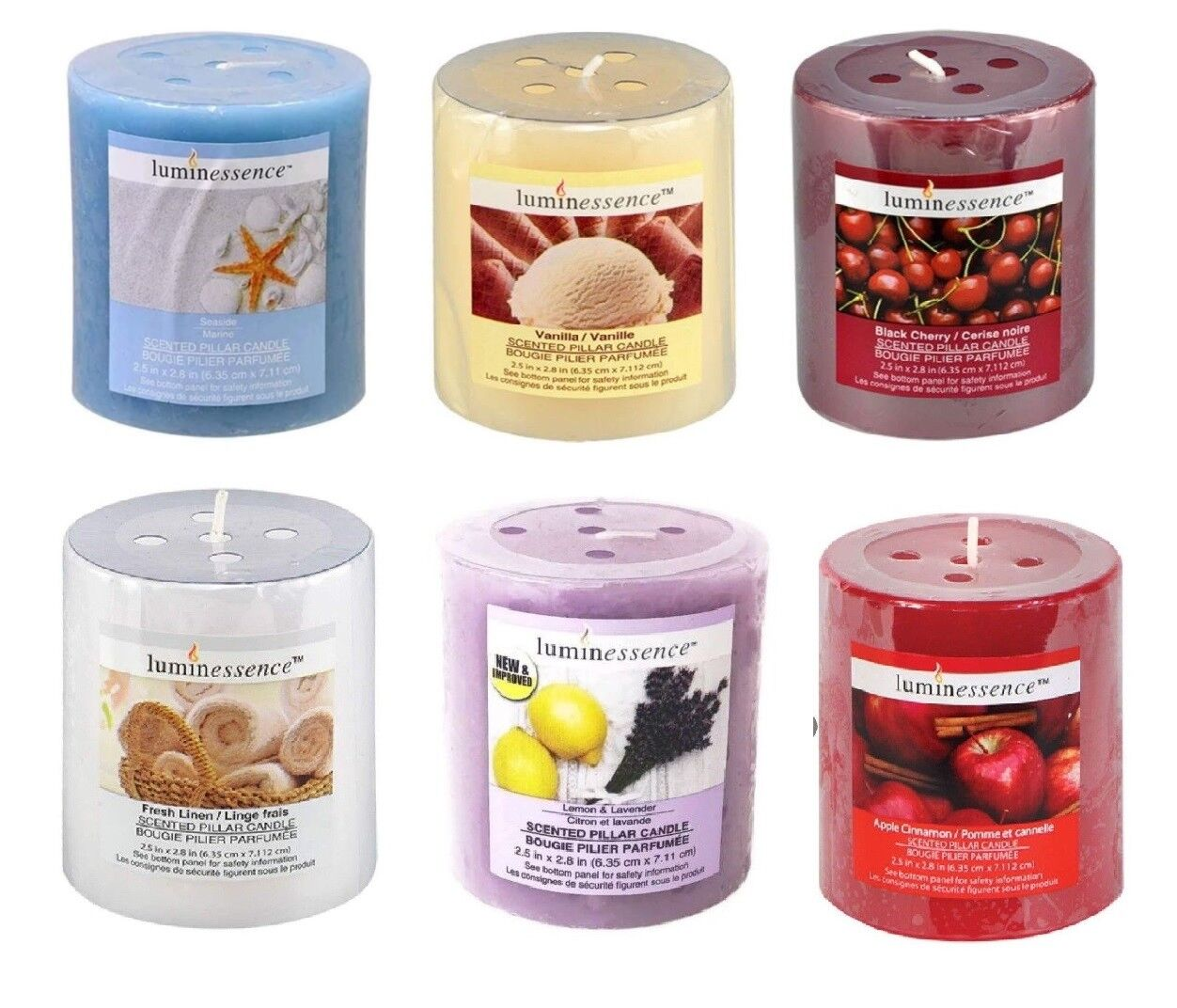 NEW Pillar Candles Scented Luminessence Fresh Linen, Apple C